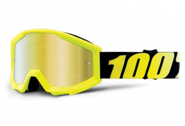 100% Strata Youth Kids' googles - Neon yellow - Gold Miror