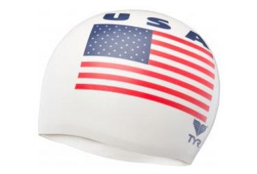 TYR USA Swim Cap Silicone White