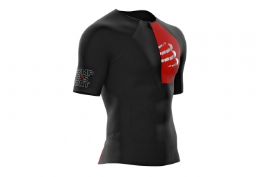 Maillot Manches Courtes Compressport Triathlon Postural Aero Noir Rouge