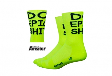 Defeet Aireator DO EPIC Socks Yellow / Black Letter