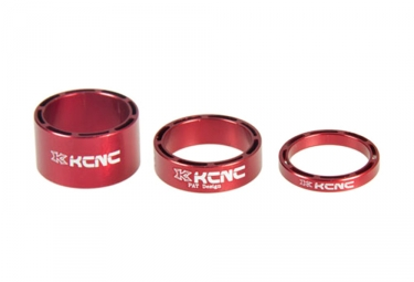 Kit de 3 entretoises de direction kcnc hollow design rouge