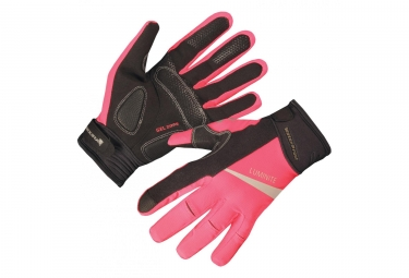 Paire de Gants Longs Femme Endura Luminite Rose Fluo