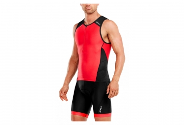 Maillot de Compression sans Manches 2XU Perform Tri Singlet Noir Rouge