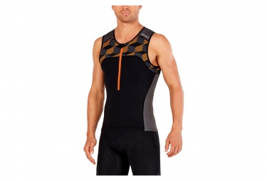 2XU Active Tri Singlet Schwarz Retro Flamme Orange