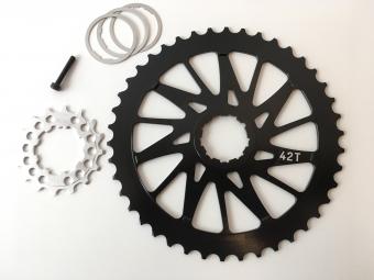 Pack pignon 42 dents et 16 Dents 10V HxR Components compatible SRAM et Shimano NOIR