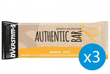 OVERSTIMS Energy Bar AUTHENTIC BAR Banana Nuts 65g - x3 Bundle
