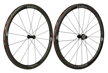 Paire de roue vision trimax carbon 40mm corps shimano sram 11v pneu noir