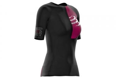 Maillot Manches Courtes Femmes Compressport Triathlon Postural Aero Top Noir