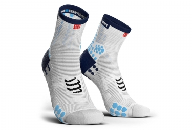 Chaussettes compressport pro racing v3 0 run haute blanc bleu 35 38