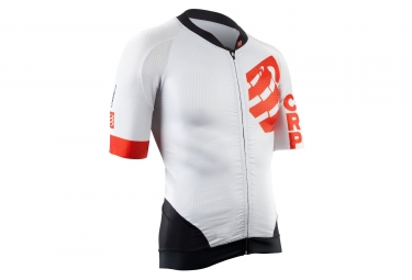 Maillot manches courtes compressport cycling on off blanc rouge s
