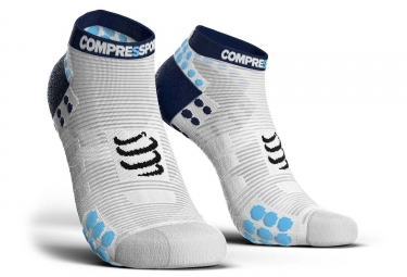 Compressport Proracing V3 0 Ejecutar Smart Socks Low Cut Blanco   Azul 42 44