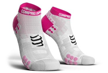 Chaussettes compressport pro racing v3 run basse blanc rose 35 38