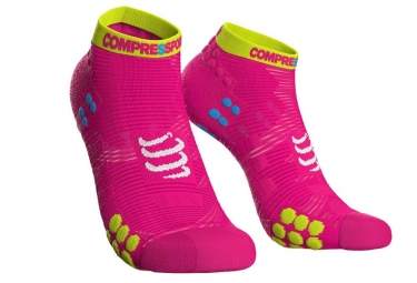Chaussettes Compressport Pro Racing V3 Run Basse Rose Jaune Fluo