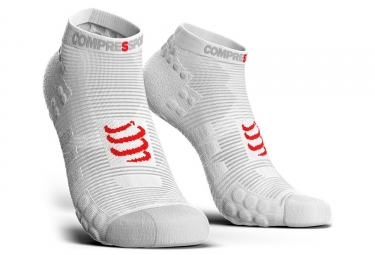 Chaussettes compressport pro racing v3 run basse blanc 35 38