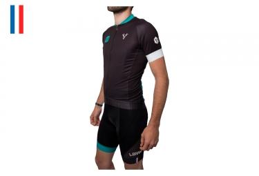 Maglia Maniche Corte LeBram x Cycling Heroes Nero Verde Taglio Aggiustato