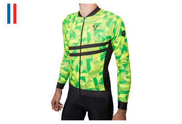 LeBram Croix de Fer Long Sleeves Jersey Neon Yellow / Neon Green Adjusted Cut