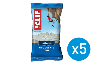 5 Barres énergétiques CLIF BAR Pepites de chocolat 68g