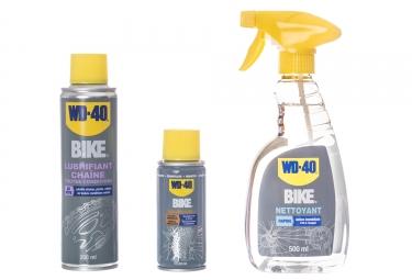 Pack entretien 3 produits wd40 bike nettoyant 500ml lubrifiant chaine 250ml degraiss