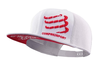 Casquette Compressport Flat Cap Blanc Rouge