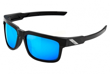 100% Type S Sunglasses Black - HiPER Miror Lens Blue