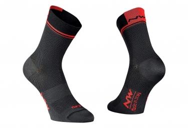 Paire de chaussettes northwave logo 2 noir rouge 44 47