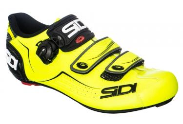 Paire de chaussures route sidi 2018 alba jaune fluo noir 47