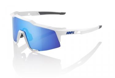 100% Sunglasses SPEEDCRAFT LL - Soft Tact White - HiPER Blue Mirror