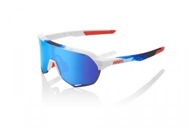 Occhiali da sole 100% S2 - Bianco opaco / Geo Print - HiPER Mirror Blue