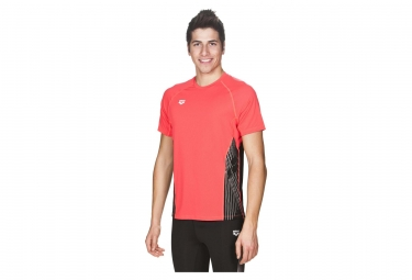 Maillot manches courtes arena panel rouge noir s