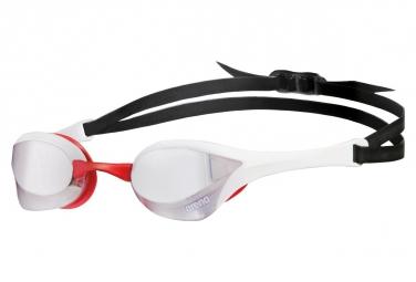 Lunettes de bain arena cobra ultra mirror argent blanc rouge