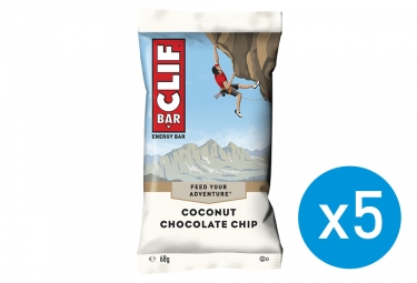 5x Clif Bar Coconuts Chocolate Chip Energy Bar