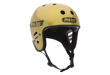 Casque bmx pro tec full cut certified gold flake jaune m 56 58 cm