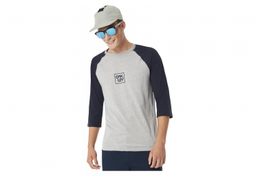 T shirt manches 3 4 oakley f s 3 4 raglan tee gris bleu l