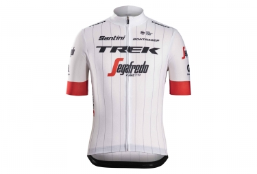 Short Sleeves Jersey Trek by Santini Team Trek-Segafredo Replica White / Red