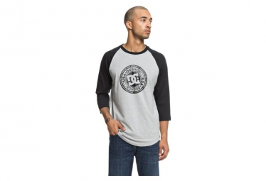 T shirt manches longues dc shoes research raglan 3 4 noir gris l