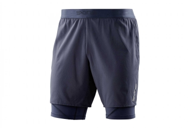 Short 2 en 1 skins dnamic core bleu homme xl
