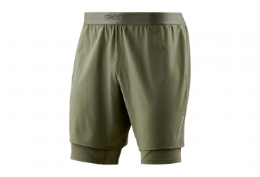 Short 2 en 1 skins dnamic core kaki homme xl