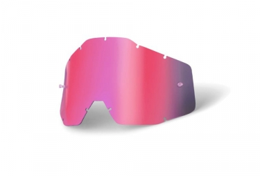 Lentes 100% Racecraft / Accuri / Strata - Miroir Pink / Smoke Anti-Fog