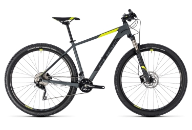 Vtt semi rigide cube attention sl shimano xt 10v 27 5 gris jaune fluo 2018 16 pouces