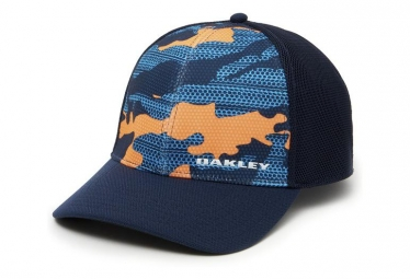 Casquette oakley silicone bark trucker bleu marine orange multi s m