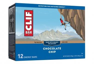 12 Barres énergétiques CLIF BAR Pepites de Chocolat 68g