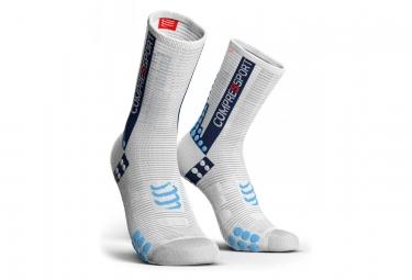 Paire de chaussettes compressport pro racing v3 0 bike blanc bleu 35 38