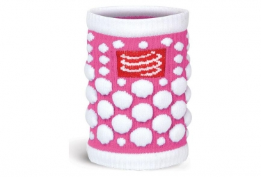 Paire de bandeaux poignets compressport 3d dots rose