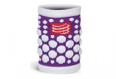 Paire de bandeaux poignets compressport 3d dots violet