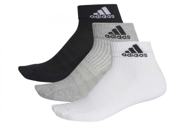 Lot de 3 paires de chaussettes basses adidas running 3 stripes performance blanc gri