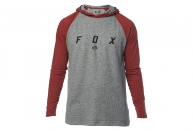 Fox Tranzcribe LS Tee Shirt Hood Knit Grey Red