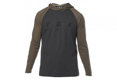 Tee shirt manches longues fox tranzcribe knit noir khaki l