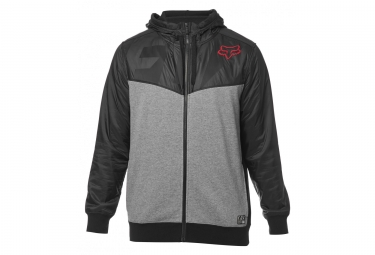 Sweat a capuche fox axle zip fleece noir gris l