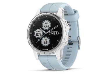 Montre GPS Garmin Fenix 5S Plus Blanche Bracelet bleu Lagon