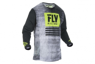 Maillot Fly Racing Kinetic Noiz Noir/Jaune Fluo Enfant